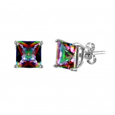Wholesale Sterling Silver 925 Rhodium Plated Synthetic Mystic Topaz Square ABD CZ Basket Set Studs - STE00954ABD-7MM