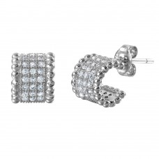 Wholesale Sterling Silver 925 Rhodium Plated Semi Hoop Earrings with Cubic Zirconia Stones - STE01029