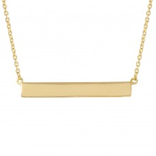 Sterling Silver Gold Plated Rectangular Tag Necklace STP01474GP