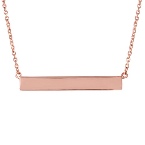Wholesale Sterling Silver 925 Rose Gold Plated Rectangular Tag Necklace - STP01474RGP