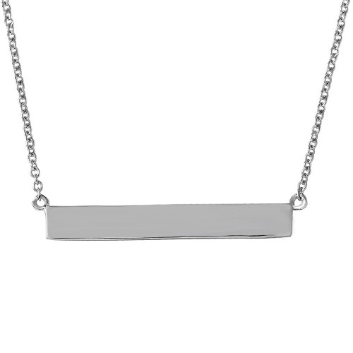 Wholesale Sterling Silver 925 Rhodium Plated Rectangular Tag Necklace - STP01474RH
