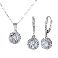 Wholesale Sterling Silver 925 Rhodium Plated Halo Set - BGS00463