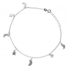Sterling Silver Moon Star Charm Anklet - A019