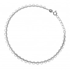 Sterling Silver Multi Circle Link Anklet a032