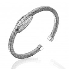 Wholesale Sterling Silver 925 Rhodium Plated Italian Bangle Bracelet with Oval Center Design - ECB00015