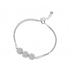 Wholesale Sterling Silver 925 Rhodium Plated 3 Circle Design Bracelet Encrusted with CZ Stones - GMB00028RH