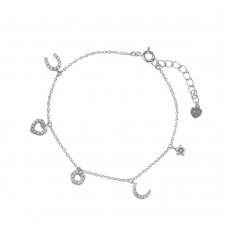 Wholesale Sterling Silver 925 Rhodium Plated CZ Charm Bracelet - GMB00030RH
