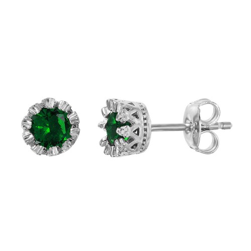 Wholesale Sterling Silver 925 Rhodium Plated Crown Set Studs with Green CZ Stone - GME00034RH-GREEN
