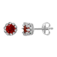 Wholesale Sterling Silver 925 Rhodium Plated Crown Set Studs with Red CZ Stone - GME00034RH-RED