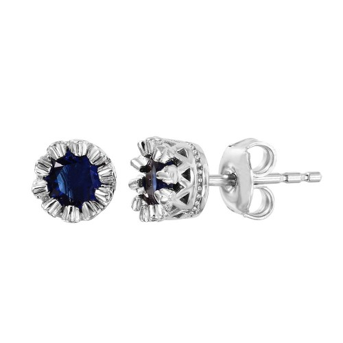 Wholesale Sterling Silver 925 Rhodium Plated Crown Set Studs with Blue CZ Stone - GME00034RH-BLU
