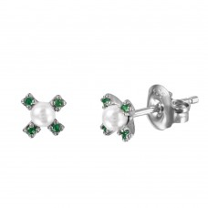 Wholesale Sterling Silver 925 Rhodium Plated CZ Flower Studs with Synthetic Pearl - GME00035RH-GREEN