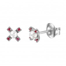 Wholesale Sterling Silver 925 Rhodium Plated CZ Flower Studs with Synthetic Pearl - GME00035RH-RED