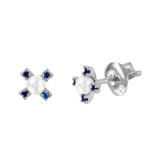 Wholesale Sterling Silver 925 Rhodium Plated CZ Flower Studs with Synthetic Pearl - GME00035RH-BLU