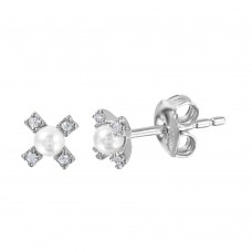 Wholesale Sterling Silver 925 Rhodium Plated CZ Flower Studs with Synthetic Pearl - GME00035RH-WHITE