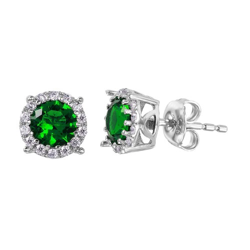 Wholesale Sterling Silver 925 Rhodium Plated Halo Studs with Green CZ Stone - GME00037RH-GREEN