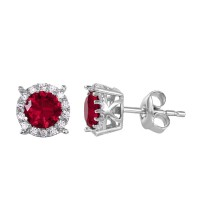 Wholesale Sterling Silver 925 Rhodium Plated Halo Studs with Red CZ Stone - GME00037RH-RED