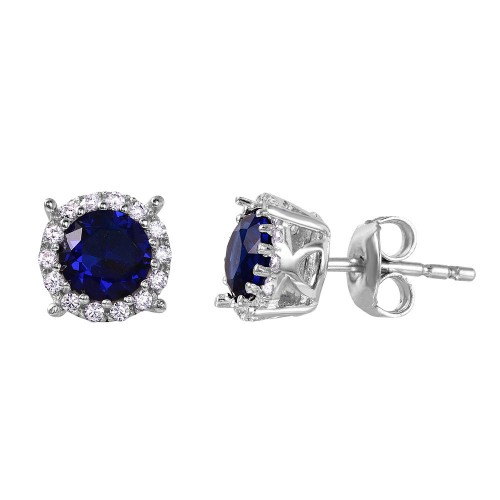 Wholesale Sterling Silver 925 Rhodium Plated Halo Studs with Blue CZ Stone - GME00037RH-BLU