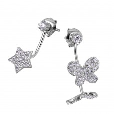 Wholesale Sterling Silver 925 Rhodium Plated Hanging CZ Star and Butterfly Earrings - GME00038RH