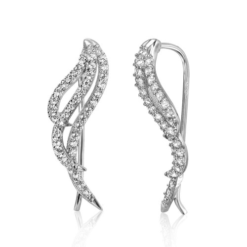 Wholesale Sterling Silver 925 Rhodium Plated Wings Earrings with Cubic Zirconia Stones - GME00039RH