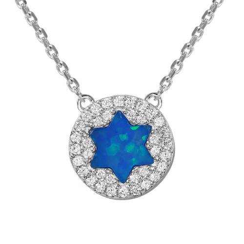 Wholesale Sterling Silver 925 Rhodium Plated Blue Opal Star with CZ Stones Necklace - GMN00001RH