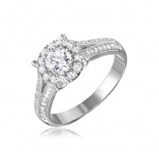 Wholesale Sterling Silver 925 Rhodium Plated Halo Ring Encrusted with Micro Pave - GMR00084