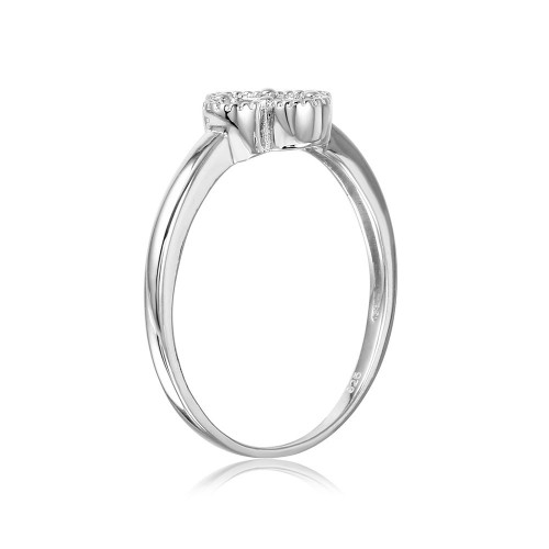 Wholesale Sterling Silver 925 Rhodium Plated Clover Ring with Micro Pave CZ Stones - GMR00085RH