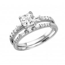 Wholesale Sterling Silver 925 Rhodium Plated Square Center Baguette CZ Stones Ring - GMR00086