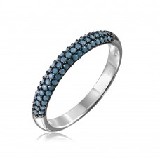 Wholesale Sterling Silver 925 Rhodium Plated Band with Turquoise Stone - GMR00089B