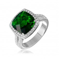 Sterling Silver Rhodium Plated Square Halo Green CZ Ring with Micro Pave Stones - GMR00090G