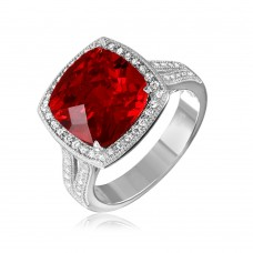 Sterling Silver Rhodium Plated Square Halo Red CZ Ring with Micro Pave Stones - GMR00090R