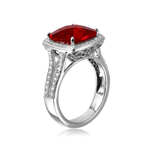 Wholesale Sterling Silver 925 Rhodium Plated Square Halo Red CZ Ring with Micro Pave Stones - GMR00090R