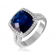 Sterling Silver Rhodium Plated Square Halo Blue CZ Ring with Micro Pave Stones - GMR00090S