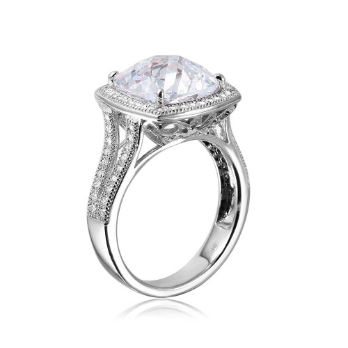 Wholesale Sterling Silver 925 Rhodium Plated Square Halo CZ Ring with Micro Pave Stones - GMR00090C
