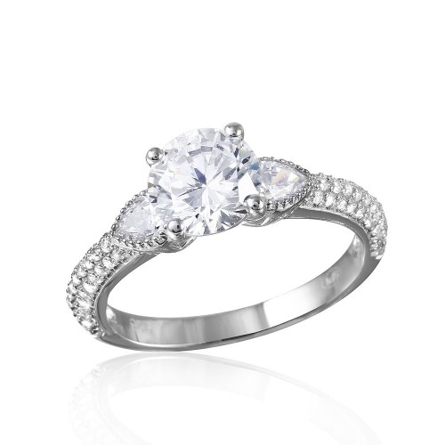 Sterling Silver CZ Center Stone Ring With Micro Pave Shank - GMR00093RH