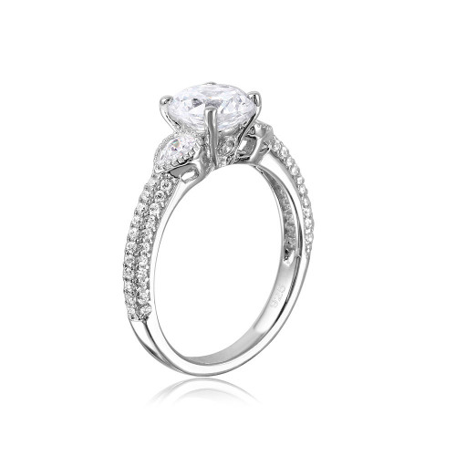 Wholesale Sterling Silver 925 CZ Center Stone Ring with Micro Pave Shank - GMR00093