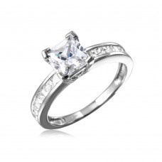 Wholesale Sterling Silver 925 Rhodium Plated Square Center Stone with CZ Band - GMR00097