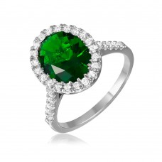 Sterling Silver Rhodium Plated Green Oval Halo Ring with CZ Stones - GMR00099G