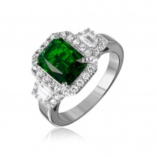 Sterling Silver Rhodium Plated Green Emerald Cut Center CZ Stone Ring - GMR00101G