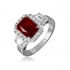 Sterling Silver Rhodium Plated Red Emerald Cut Center CZ Stone Ring - GMR00101R