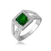 Sterling Silver Rhodium Plated Green Square Halo with Micro Pave CZ Ring - GMR00103G
