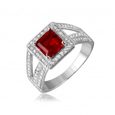 Sterling Silver Rhodium Plated Red Square Halo with Micro Pave CZ Ring - GMR00103R