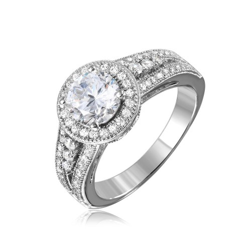 Sterling Silver Rhodium Plated Halo Ring with CZ Split Shank Band - GMR00104RH