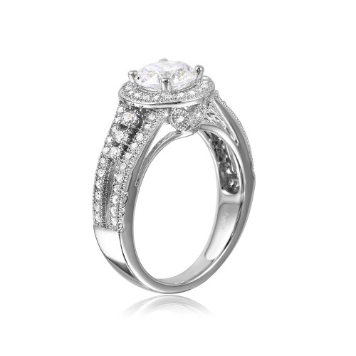 Wholesale Sterling Silver 925 Rhodium Plated Halo Ring with CZ Split Shank Band - GMR00104