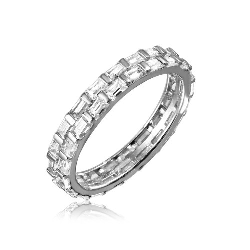 Wholesale Sterling Silver 925 Rhodium Plated Baguette CZ Double Band - GMR00106