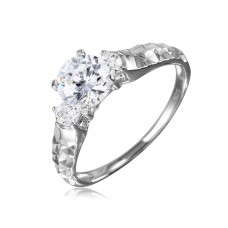 Wholesale Sterling Silver 925 Rhodium Plated CZ Center Stone Ring with Hammered Shank - GMR00109