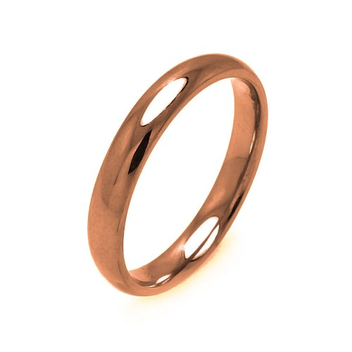 Wholesale Men's Stainless Steel Rose Gold Color Band Ring 3mm - SRB001R