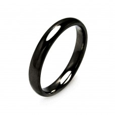Wholesale Men's Stainless Steel Black Color Ring 3mm - SRB001B