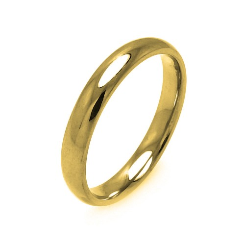 Wholesale Men's Stainless Steel Gold Color Band Ring 3mm - SRB001GP