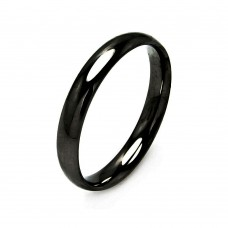 Wholesale Men's Stainless Steel Black Color Band Ring 4mm - SRB002B