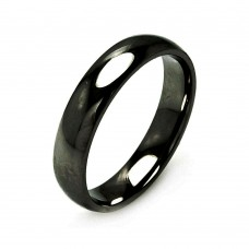 Wholesale Men's Stainless Steel Black Color Band Ring 5mm - SRB003B